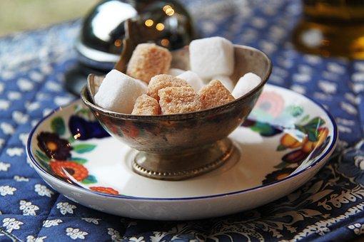 Sugar, Brown, White, Cube, Deco, Flowery, Plate, Tea