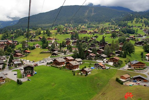Country, Town, Mountain, Alps, Log Cabins, Tourism