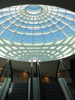 Mall, Shopping Centre, Center, Glass Roof, Escalator