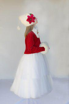 Christmas Child, Red Coat, White Fur Hat
