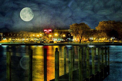 Super Moon, Moon, Silhouette, Night, Lunar, City