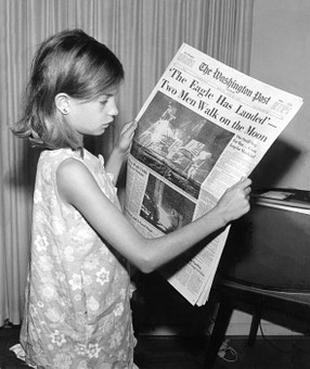 Newspaper, News, Read, Moon Landing, Child