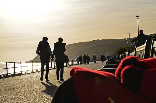 Red, People, Sunlight, Promenade, English Seaside, Sea