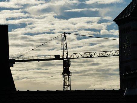 Crane, Baukran, Site, Build, Red, White, Boom, Steeple