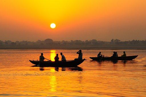India, Varinasi, Ganges, Boats