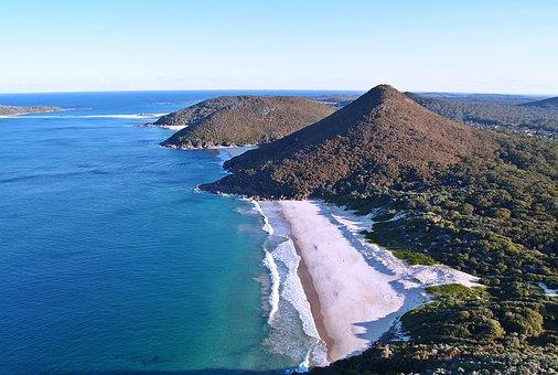 Mountain, Beach, Ocean, Blue, High, View, White, Sand