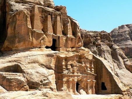 Jordan, Petra, Tombs, Cliff, Obelisks, Sculptures