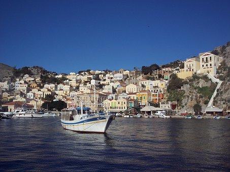 Simi, Boat, Greece, Greek, Island, Symi, Summer, Sea
