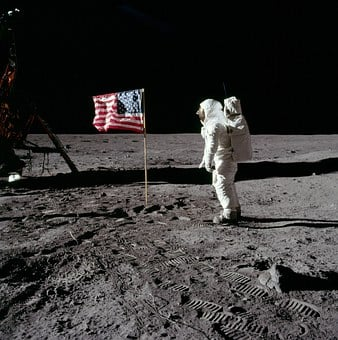 Moon Landing, Buzz Aldrin, America, 1969, Flag