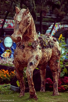 Horses, Wooden, Sculptures, Decorative, Yellow, Brown