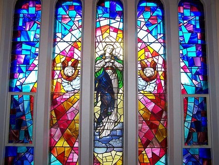 Stained Glass Window, Angels, Jesus, Christ, Ascension