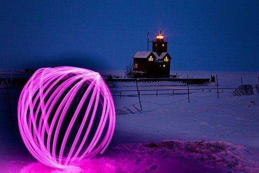 Orb, Long Exposure, Lights, Night, Lighthouse, Winter