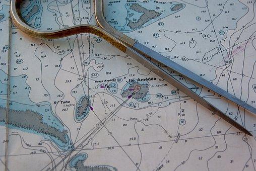 Marine Map, Compass, Navigation, Sea