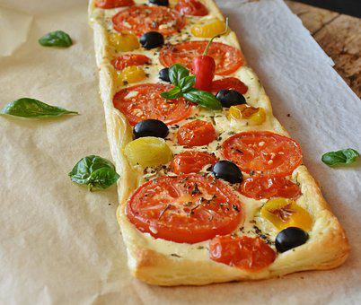 Tomatoes, Tomato Quiche, Red, Yellow, Olives, Cream