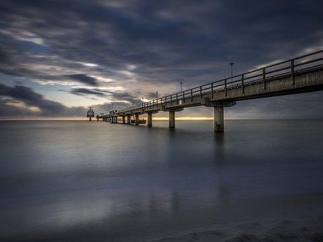 Sea Bridge, Zinnowitz, Diving Bell, Sea, Sunrise