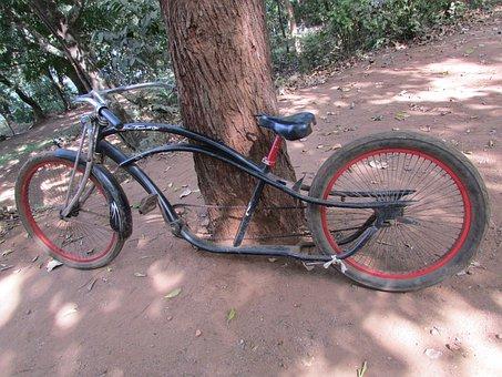 Bicycle, Bike, Vintage, Old, Red, Black, Dandeli, India