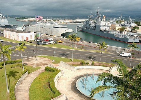 Pearl Harbor, Hawaii, Sky, Clouds, Bay, Port, Harbor