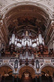 Church, Organ, Ceiling, Catholicism, Architecture