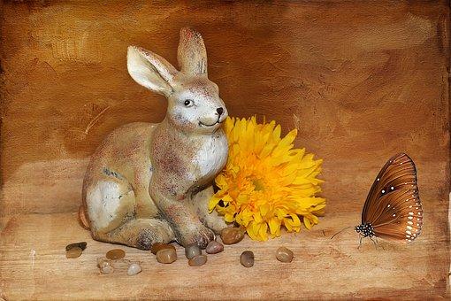 Hare, Easter Bunny, Dekohase, Stone Hase, Flower
