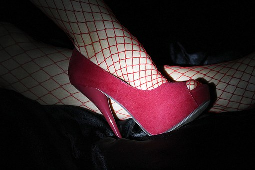 High Heels, High Heeled Shoes, Red, Fishnet Stocking