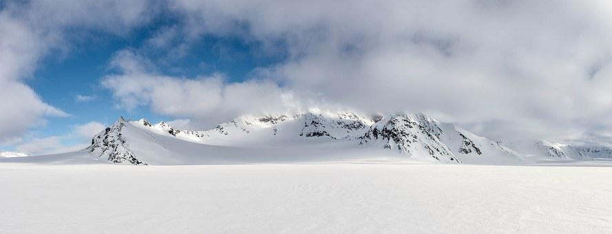 Snow, Mountains, Clouds, Arctic, Spitsbergen, Landscape
