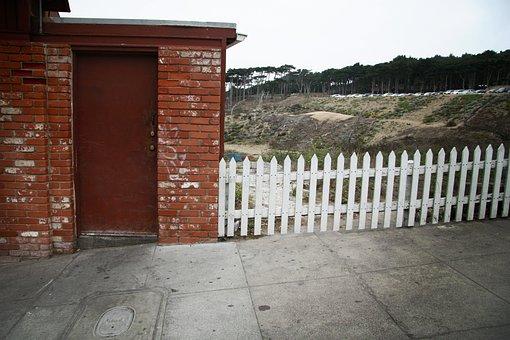 Crooked, Fence, Door, Home, Property, Brick, Beach