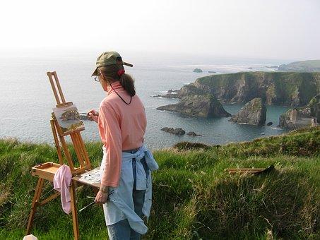 Dingle, Ireland, Cliff, Painter