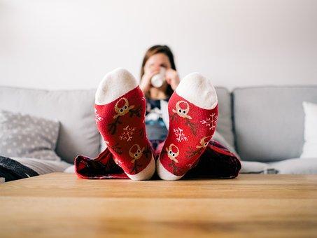 Feet, Socks, Living Room, Person, Relaxing, Table
