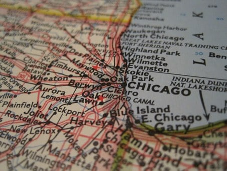 Chicago, Map, Close-up, Usa, America, Illinois
