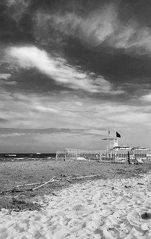 Sea, Beach, Lifeguard Tower, Flag, Picket Fence
