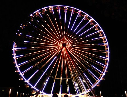 Ferris Wheel, Sky, Night Photograph, Theme Park, Lights