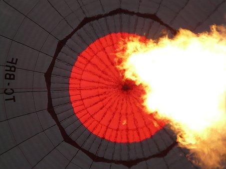 Balloon Envelope, Hot Air Balloon, Burner, Fire, Hot