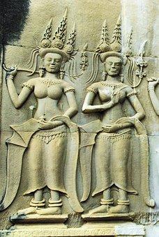 Cambodia, Angkor, Temple, Bayon, Sculpture, Dancers