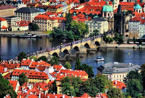 Prague, Bridge, Water, Czech, Europe, City, Republic