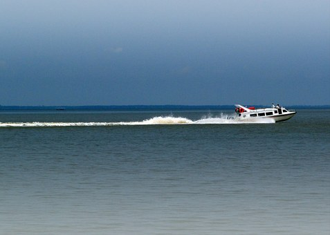 Motorboat, Fast, Sea, Bengkalis Strait