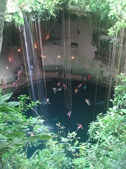 Cenote, Cave, Yucatan, Mexico, Swimming, Rock, Cavern