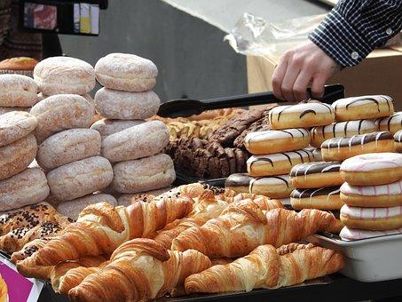 Donuts, Cake, Bakery, Dessert, Croissant, Food