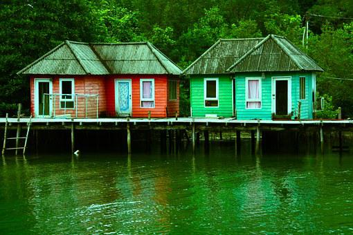 Sheds, Houses, Stilts, River, Lake, Water, Holiday