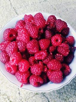 Raspberries, Fruit, Summer, Lean, Fresh, Ripe Fruit