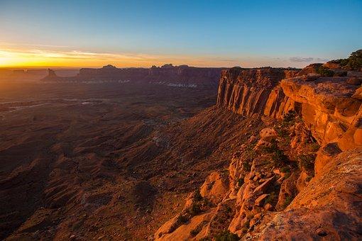 Sunset, Canyonlands, Utah, Landscape, National, Park