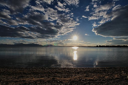 Chiemsee, Water, Sun, Back Light, Setting Sun