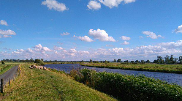 East Frisia, Wide, Dike, Landscape, Clouds, River