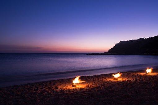 Bleu Lagoon, Curacao, Evening Sun, Beach, Evening, Fire