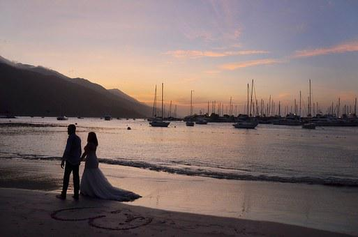 Romantic Wedding Couple, The Beach, Sunset, Wedding