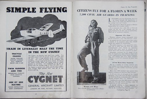 Advert, Plane, Aeroplane, Flying, Woman, Learning
