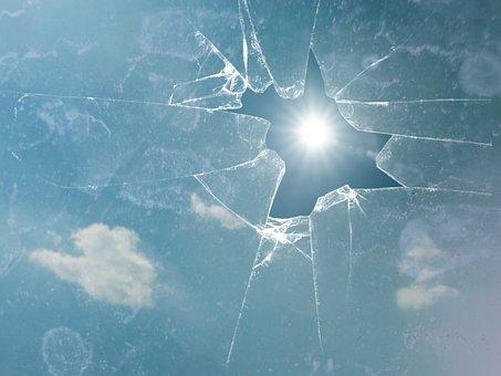 Broken, Glass, Sun, Clouds, Shattered, Transparent, Sky