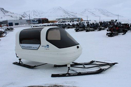 Snowmobile, Trailer, Norway, Svalbard, Kids, Transport