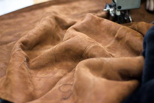 Leather, Sewing Machine, Clothing, Background, Closeup