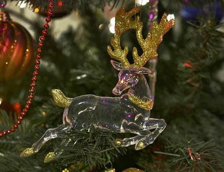 Christmas Decorations, Glass Ornaments, Reindeer