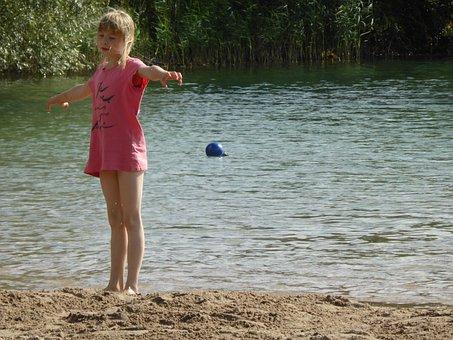 Girl, Child, Sand, Play, Water, Beach, Lake, Warm
